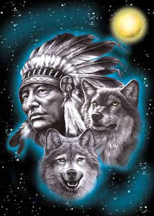 indian chief and wolf - photo #26